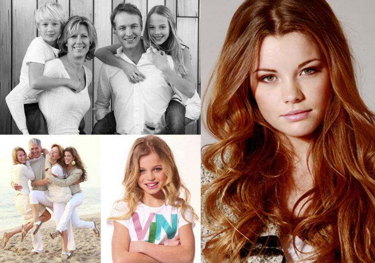 vier portret- en strandfoto's van profotostudio klanten