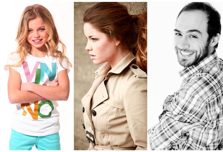 drie portreftfoto's van profotostudio klanten
